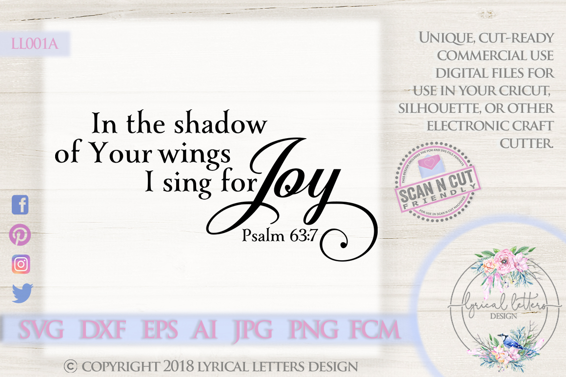 I Sing for Joy Psalm 63 Christian Scripture SVG DXF LL001A example image 1