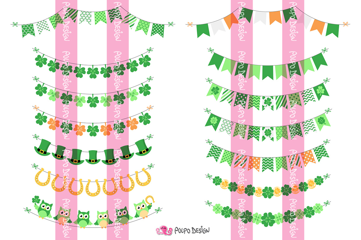 St. Patrick's Day bunting banners clipart example image 2