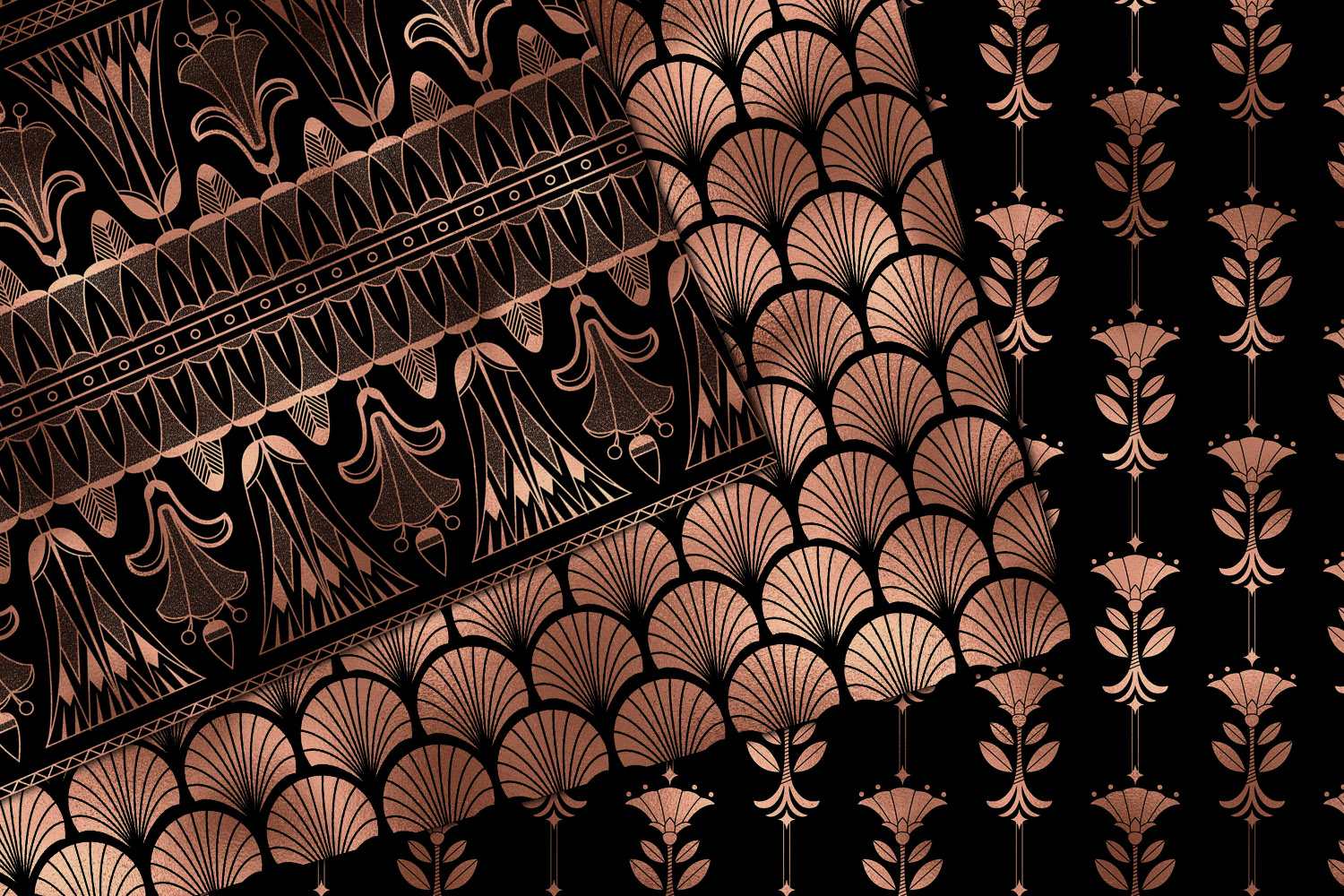 Black and Rose Gold Art Deco Digital Paper example image 3
