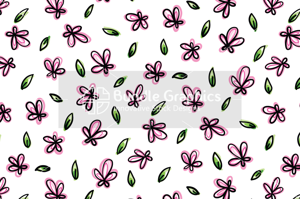 Pink Flowers - Organic Style  Freehand Graphic Background example image 2