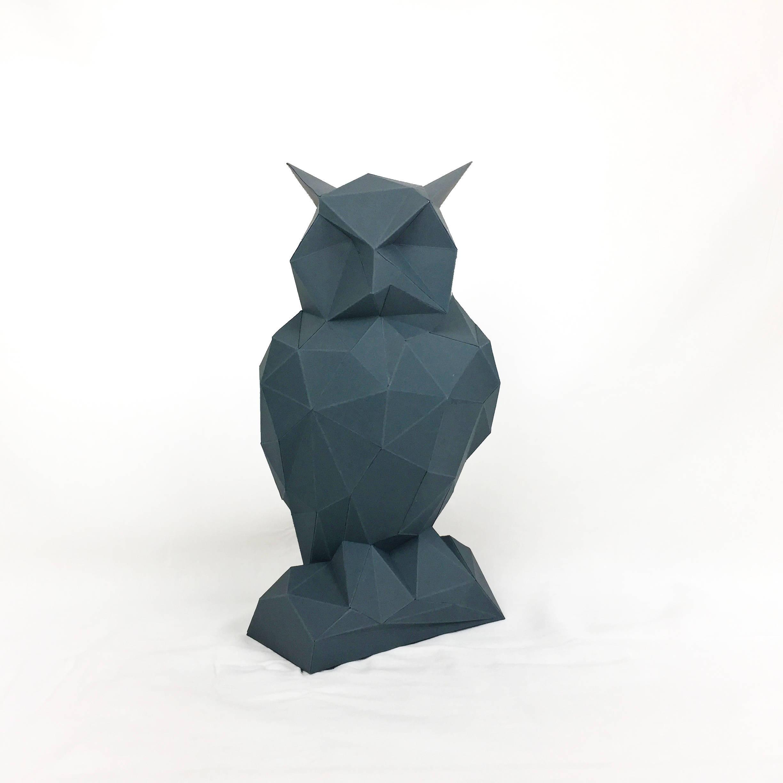 Night Owl, Papercraft Owl, Paper Owl, Animal Trophy, Loft Decor, Home Decor, 3D papercraft model, animal head, lowpoly DIY, hobby idea, DIY example image 2