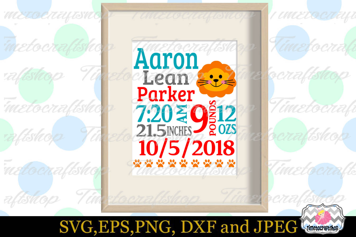 SVG, Dxf, Png & Eps Baby Birth Announcement Template example image 1