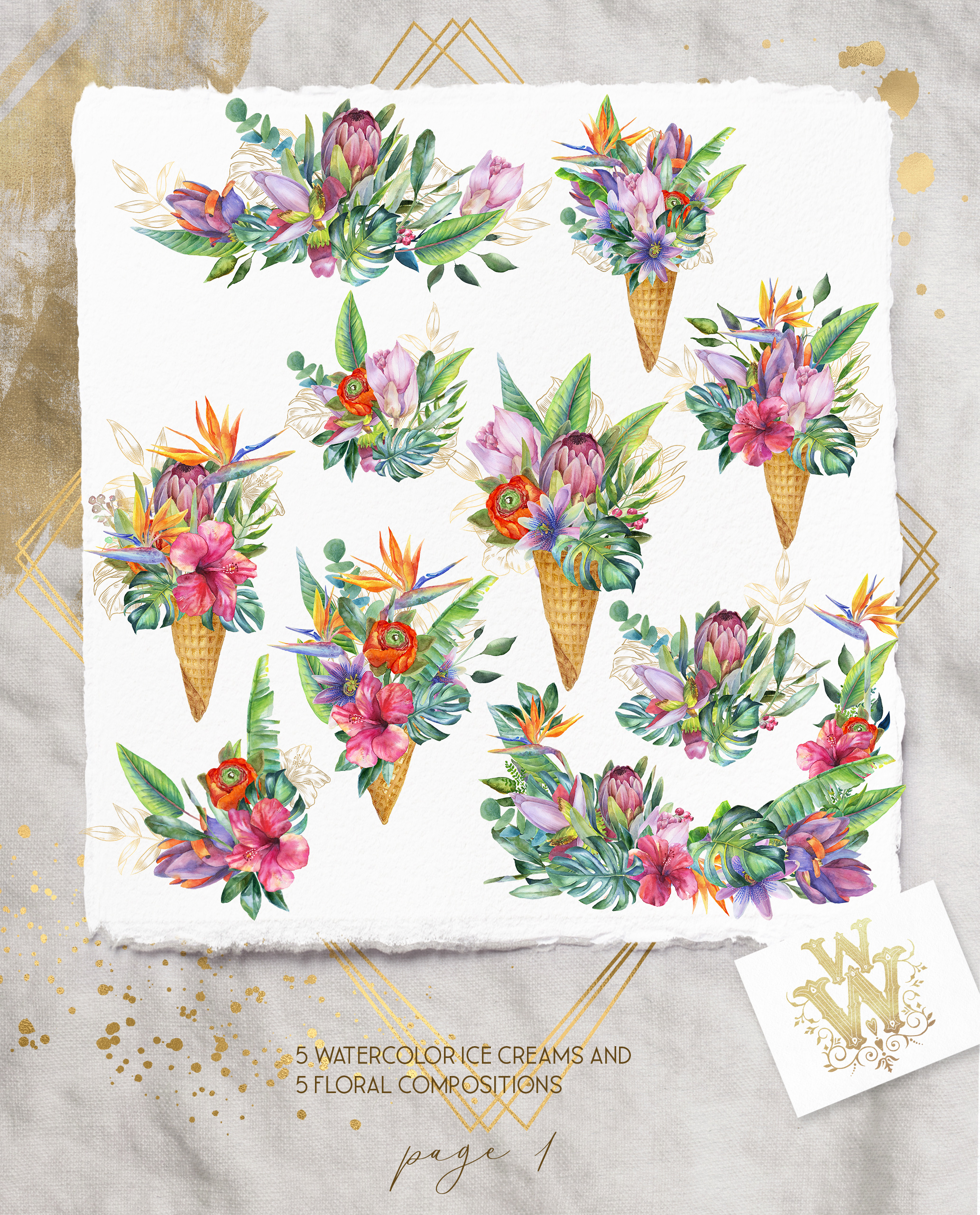Watercolor summer tropical flower clipart, floral Ice Cream example image 2
