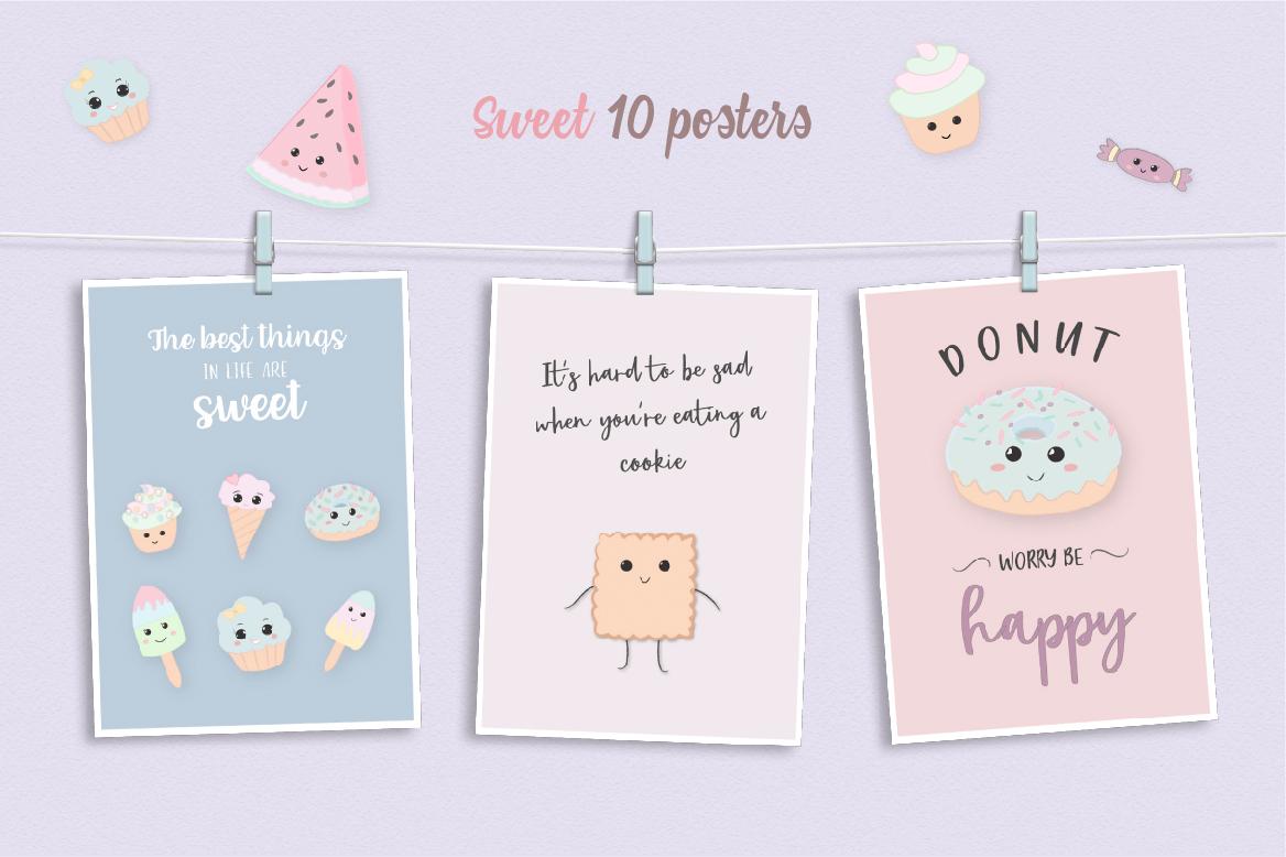 Sweet Kawaii Cute Cake Illustration Clipart Set example image 2