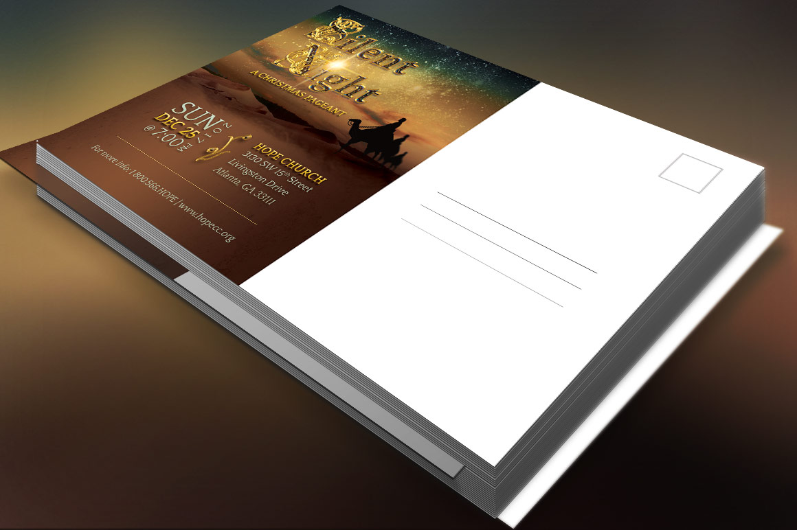 Silent Night Postcard Template example image 6