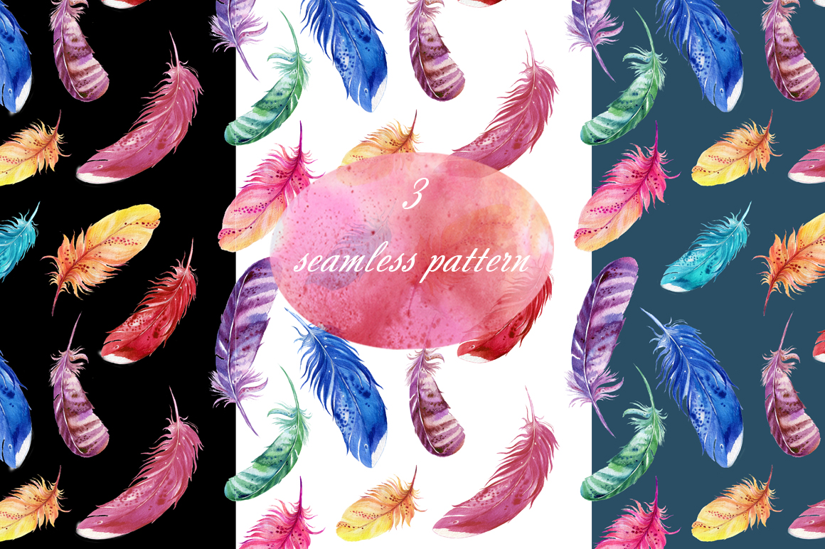 15 bird's feathers ,watercolor example image 2