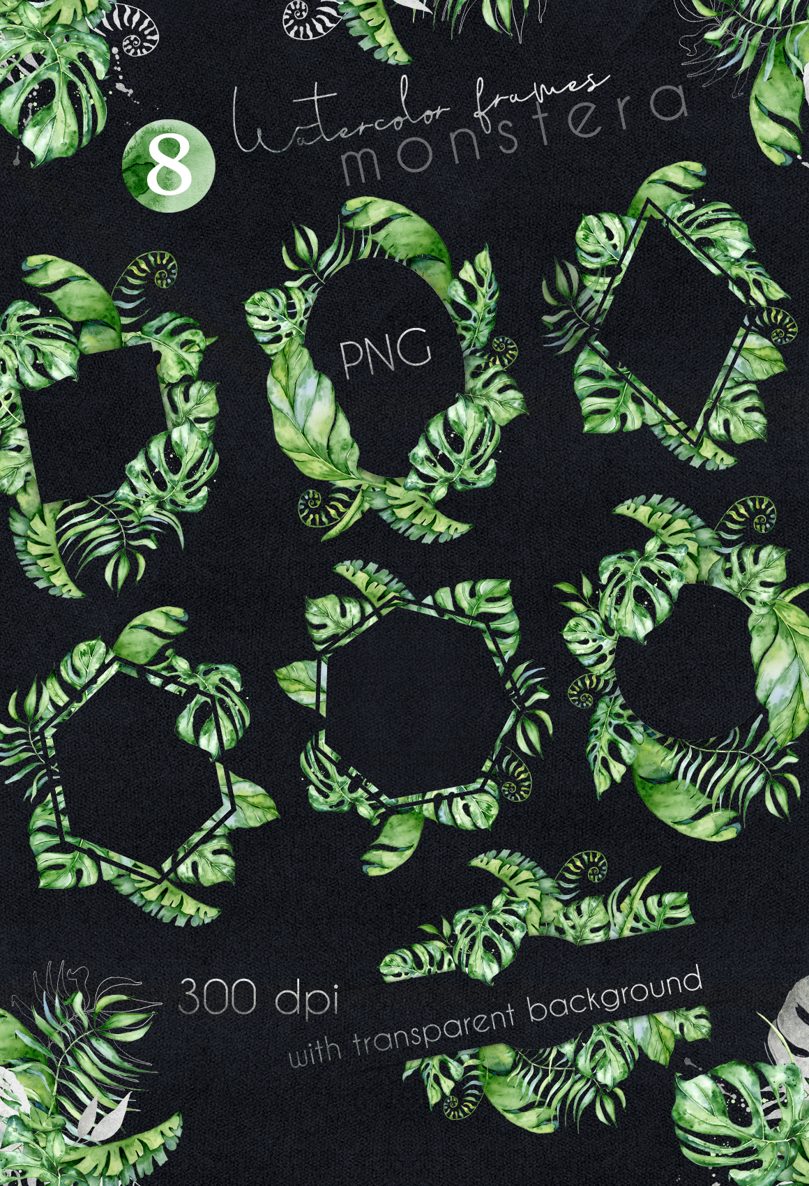 Mistery Monstera - tropical leaves watercolor illustration example image 20