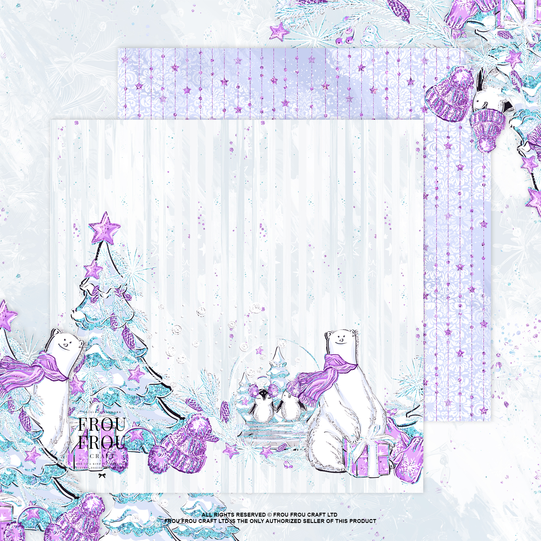 Winter Christmas Tree Penguin Bear Paper Pack example image 5