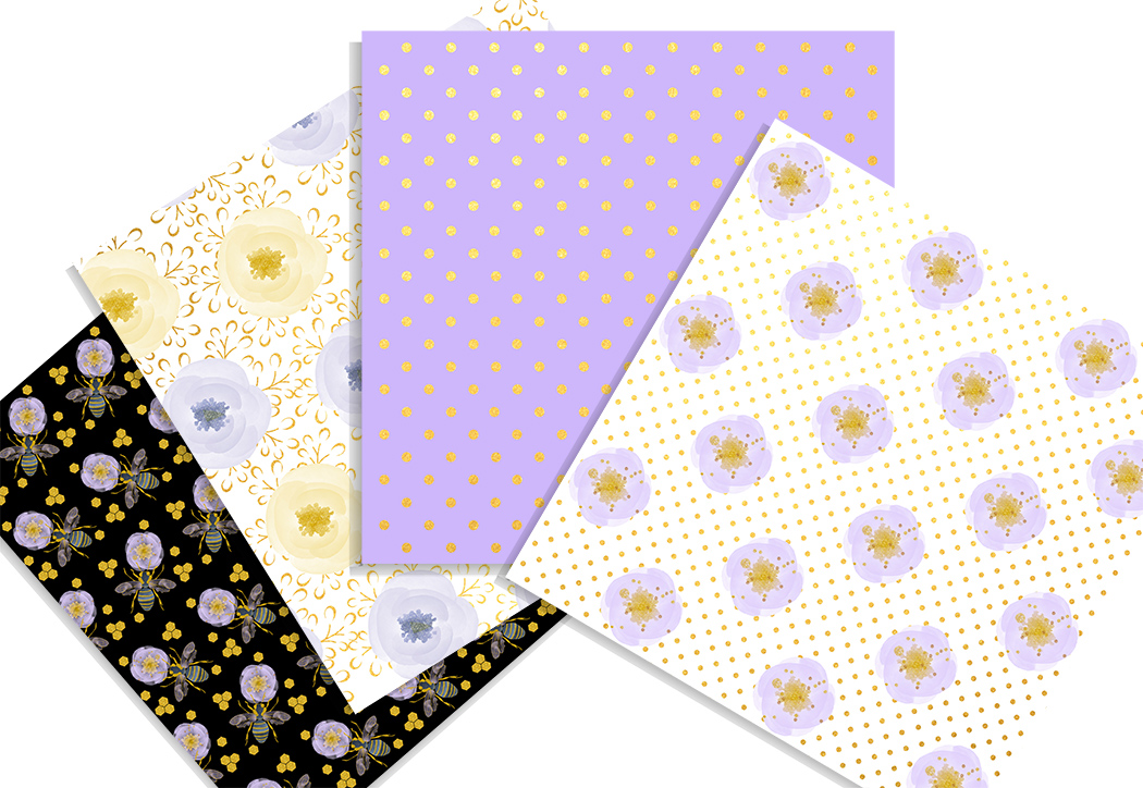 Honey bee digital paper pack. 12x12 inches example image 4