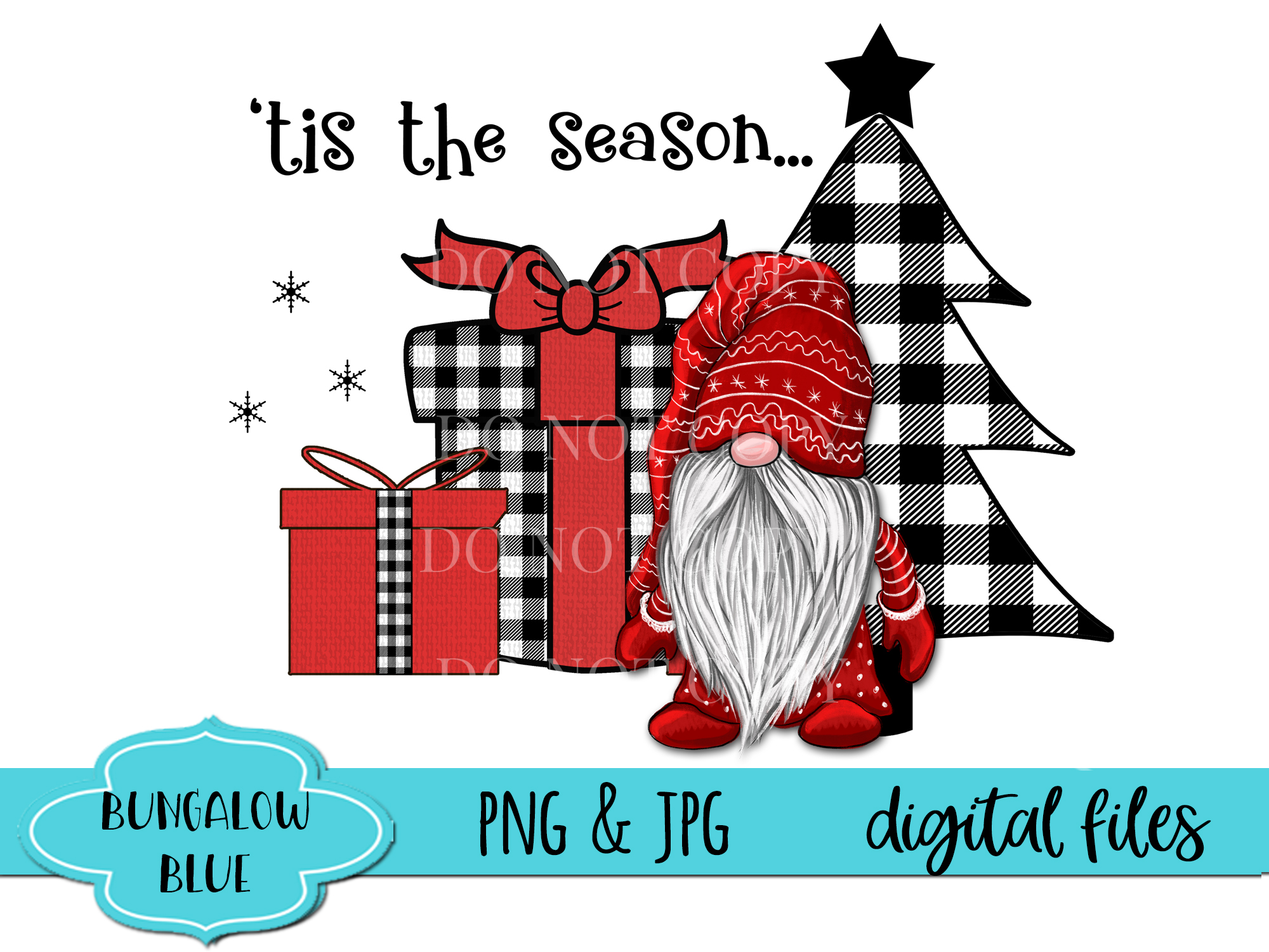 Tis The Season Gnome Buffalo Plaid Design Download example image 2