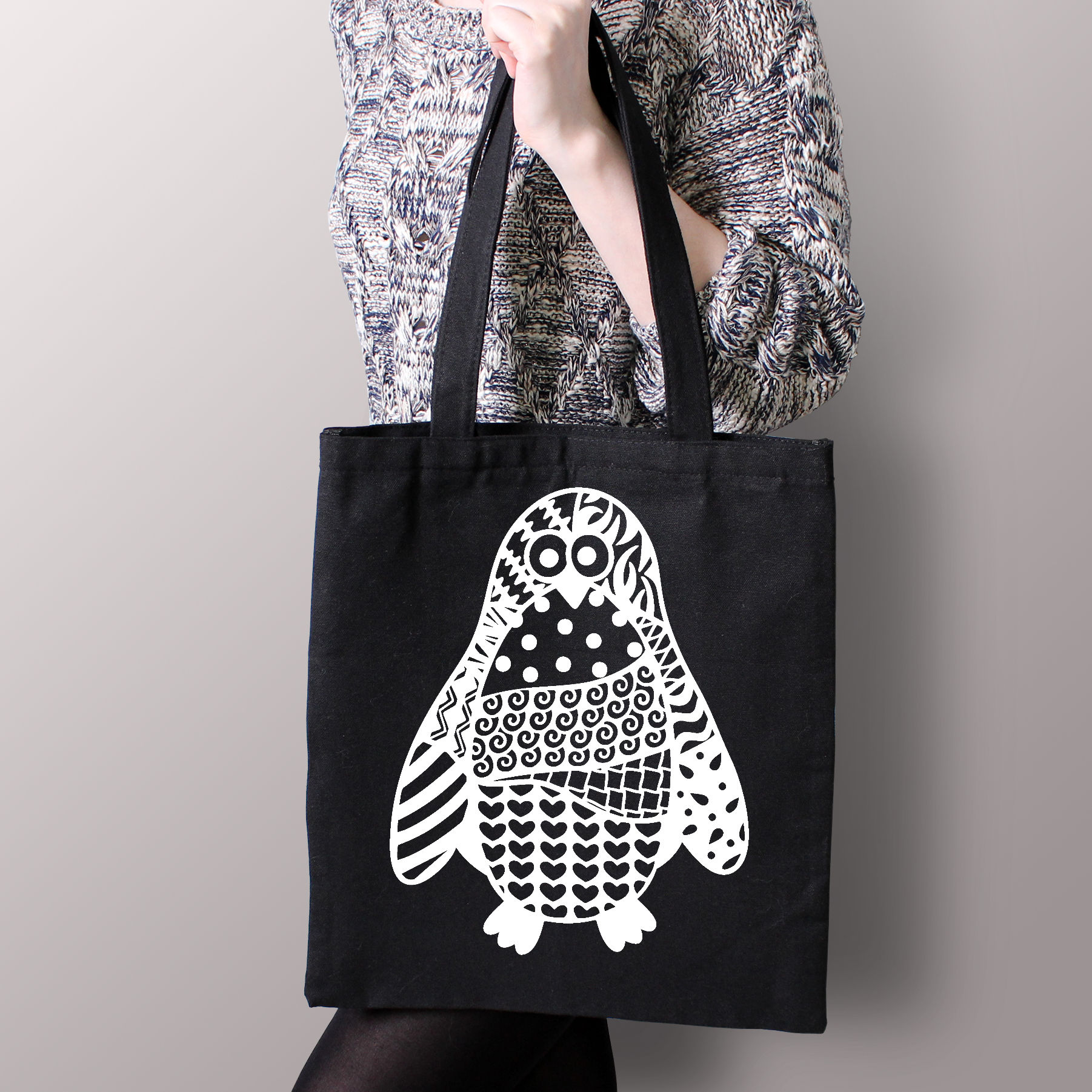 Penguin SVG with Doodle patterns example image 2