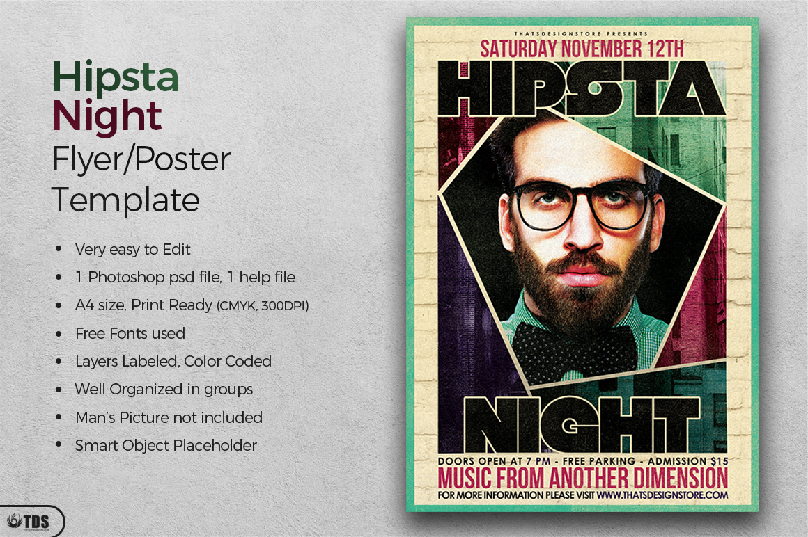 Hipsta Night Flyer Template example image 2