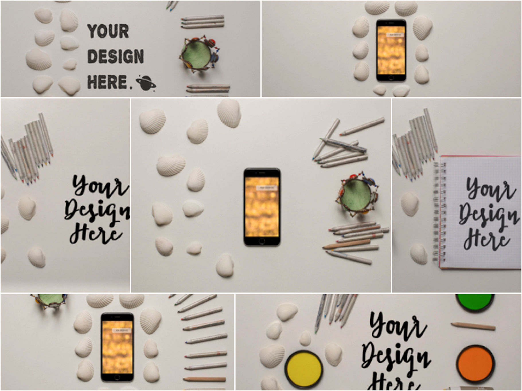 Set of 7 mockups on white table example image 1