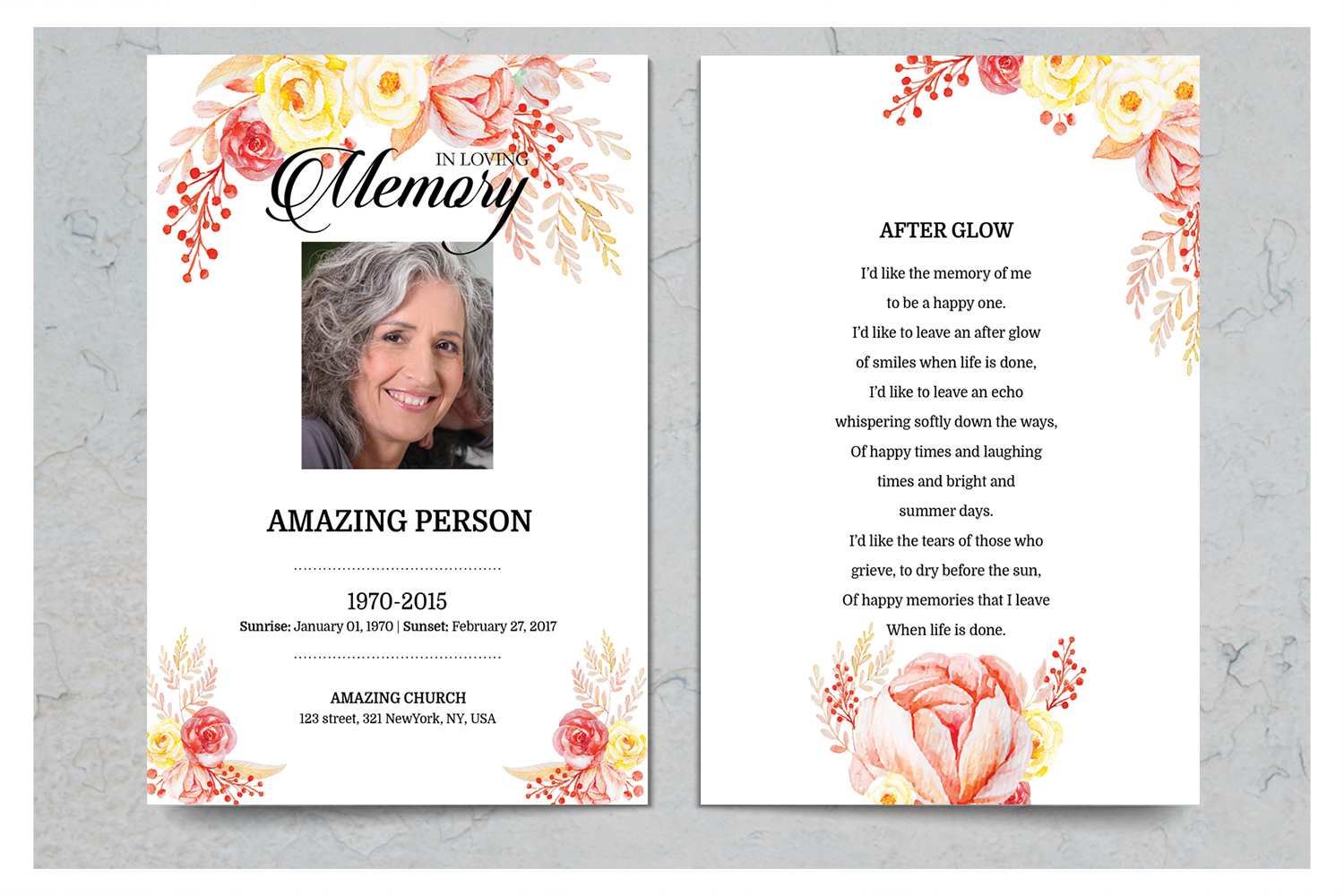 Flower Funeral Prayer Card Template example image 2