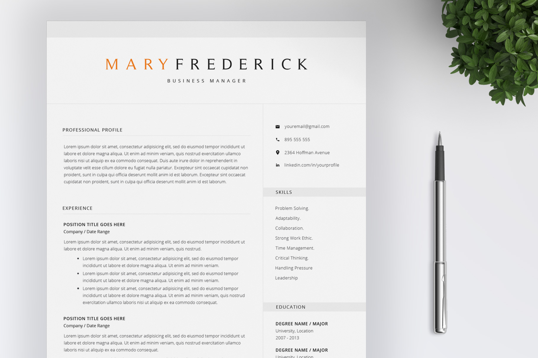 Resume Template   4 Pages   Cover Letter example image 1