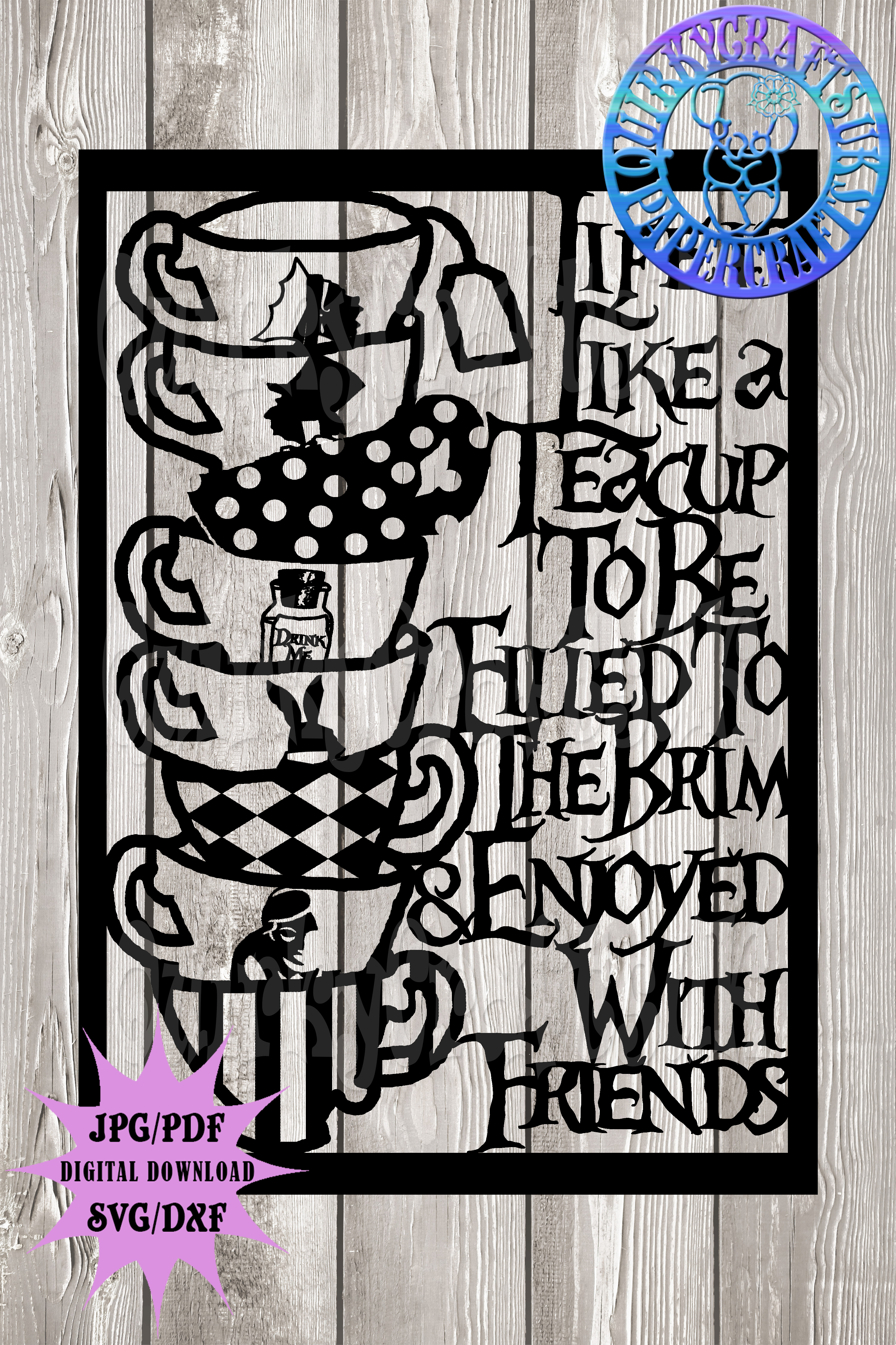 Wonderland inspired 'Life is like a teacup' template example image 4