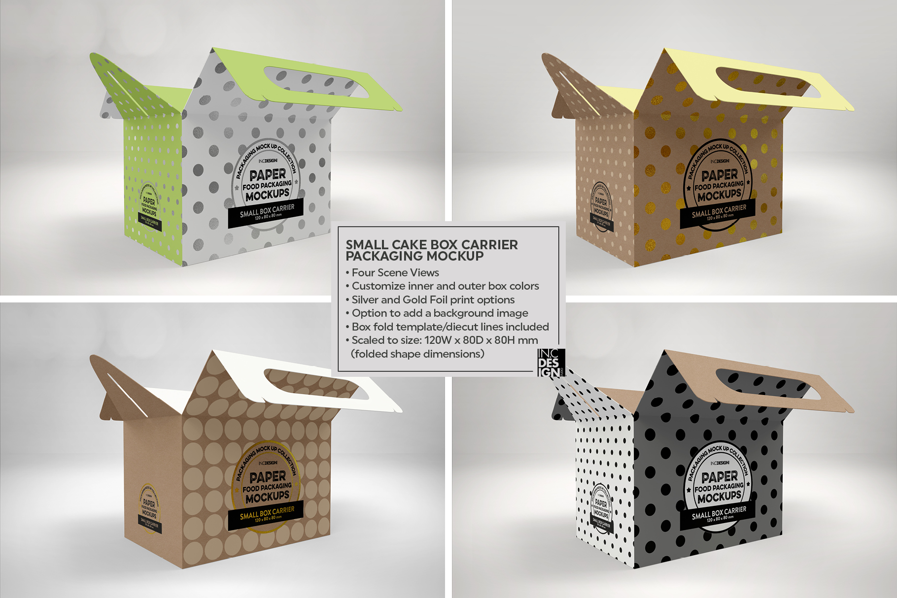 Small Cake Box Carrier Packaging Mockup example image 2