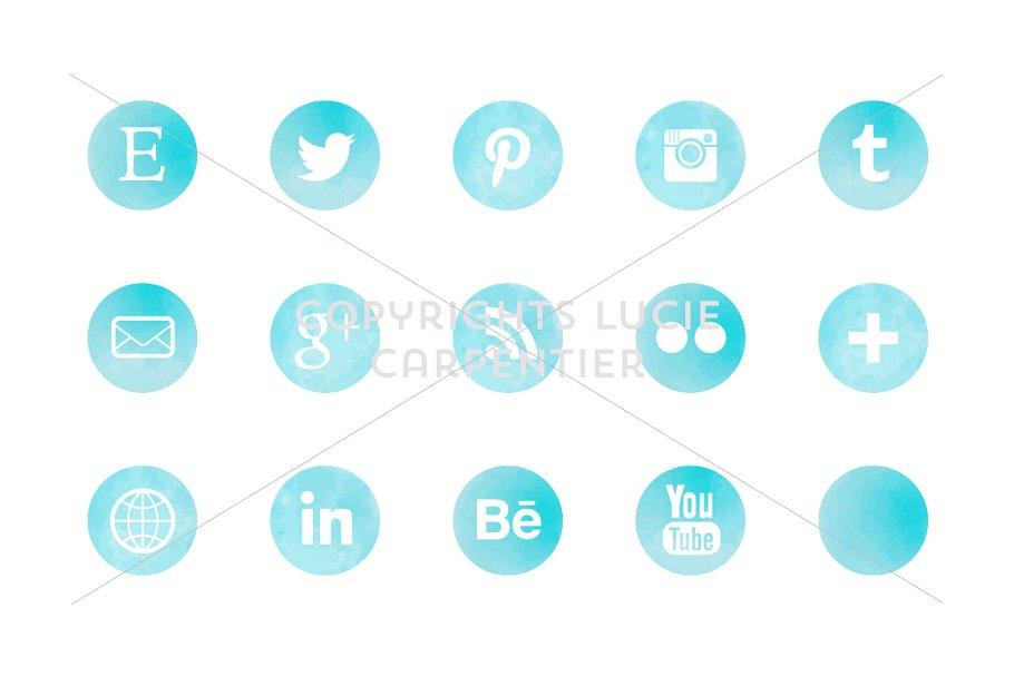Watercolour social media icons example image 5