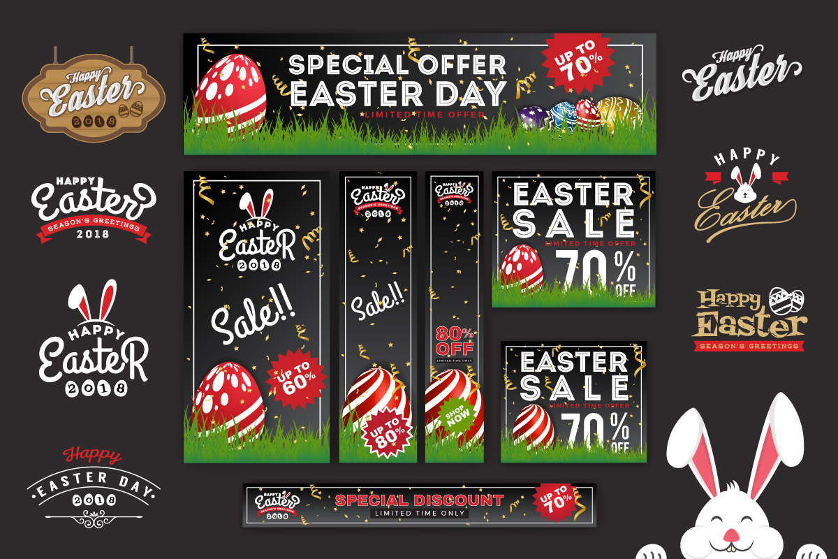 Easter Sale Banner Background & Emblem Logos example image 1