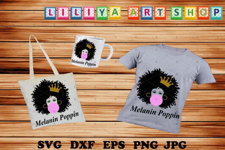 Melanin Poppin Squad,Melanin Poppin svg,Afro woman svg example image 1