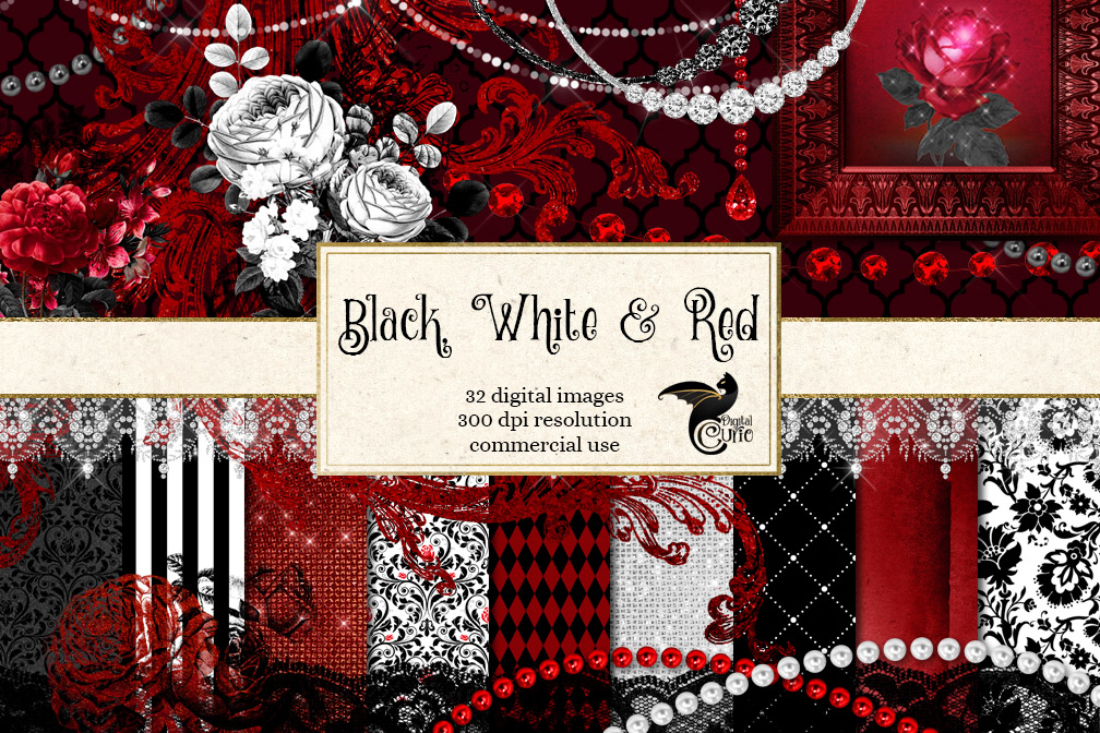 Black White and Red Digital Scrapbooking Kit example image 1