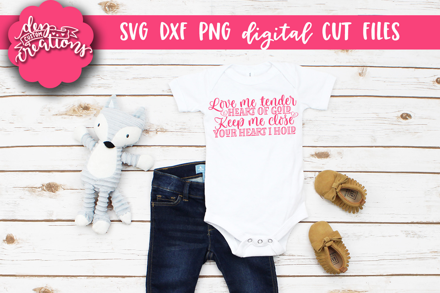 Love Me Tender Heart of Gold - SVG DXF PNG Cut files & Clipa example image 2