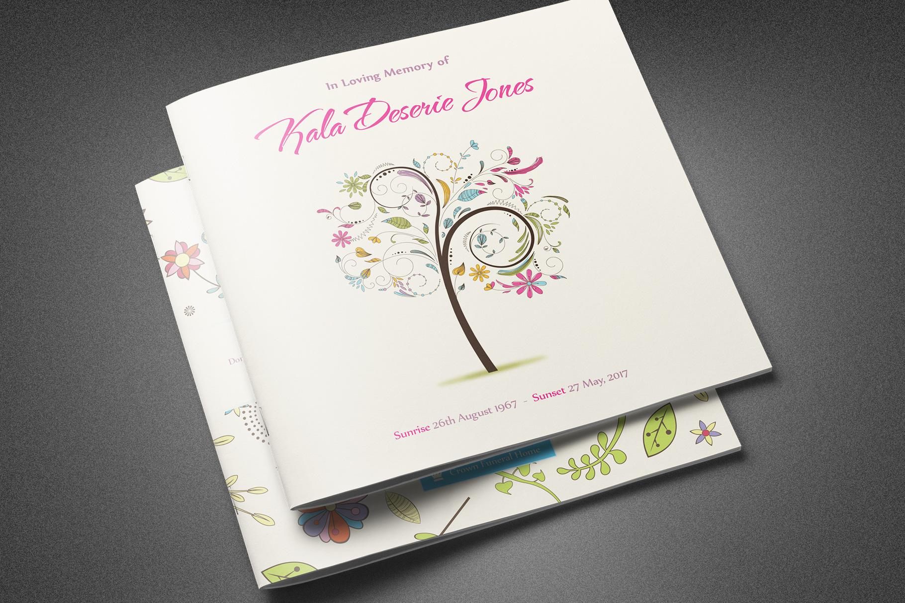 Floral Dreams Funeral Program example image 1