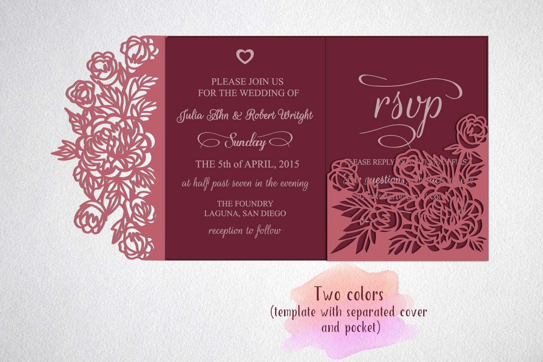 tri fold wedding invitation  svg dxf laser cut template