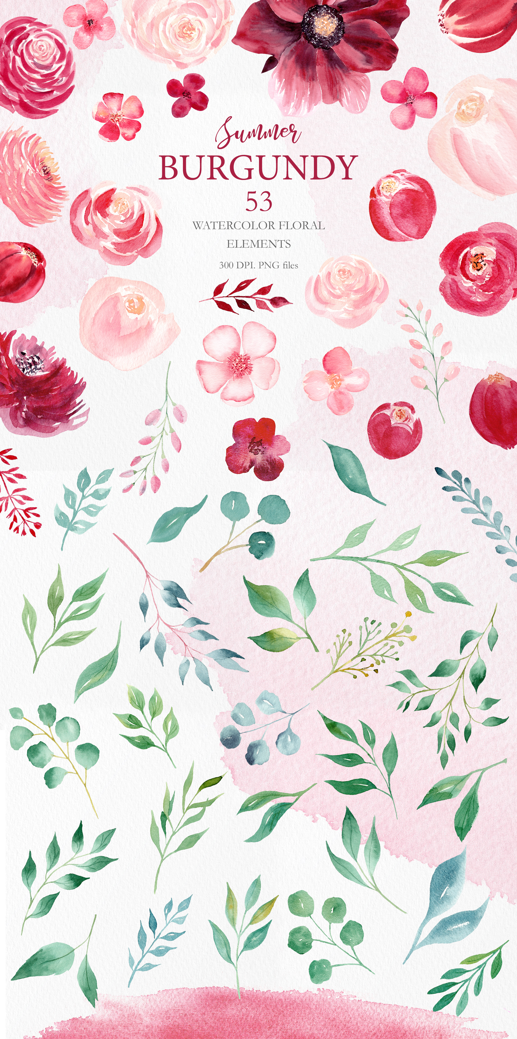 Watercolor Burgundy Floral Clipart Collection. example image 2