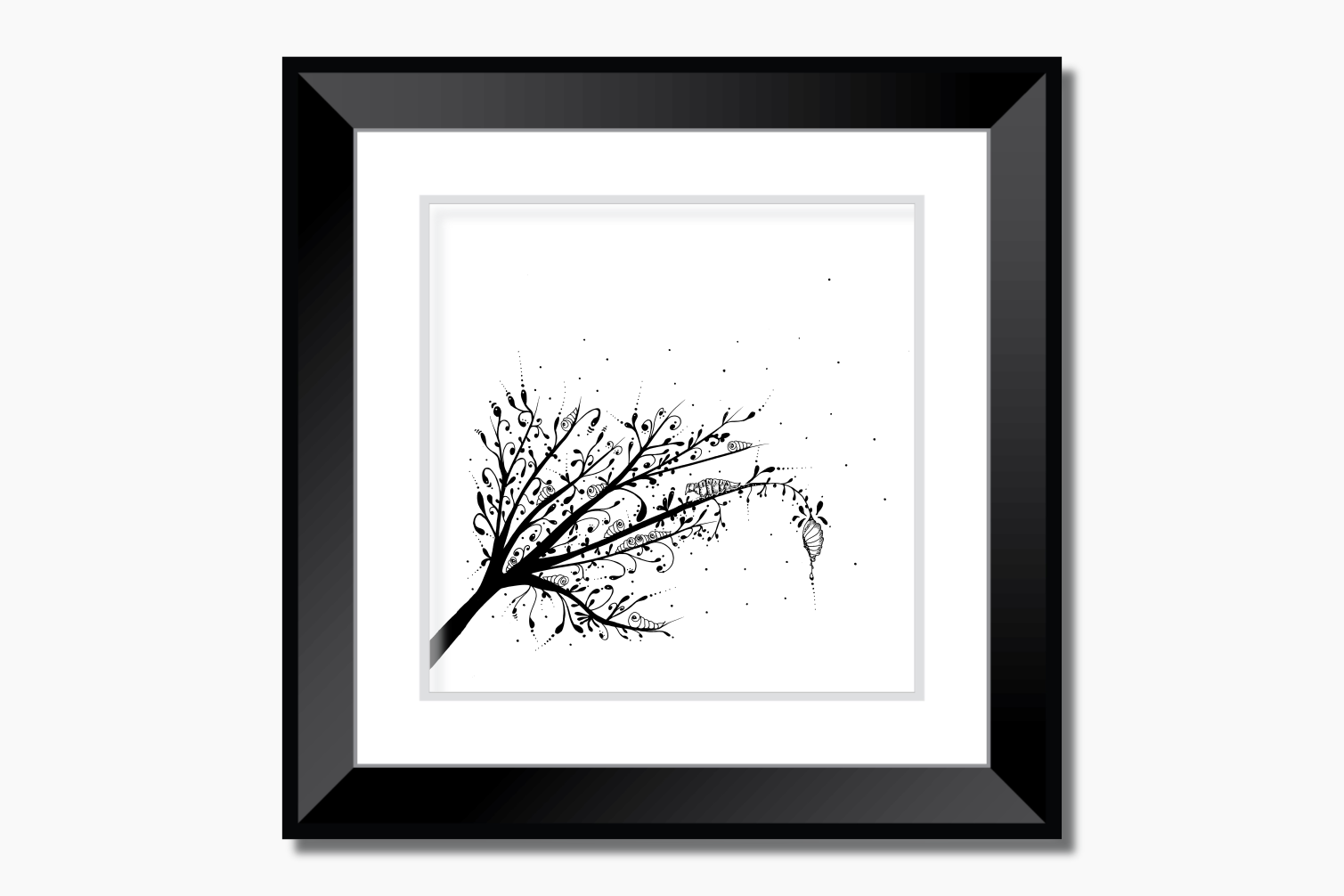 Larva Tree Ink Art, A1, SVG example image 9