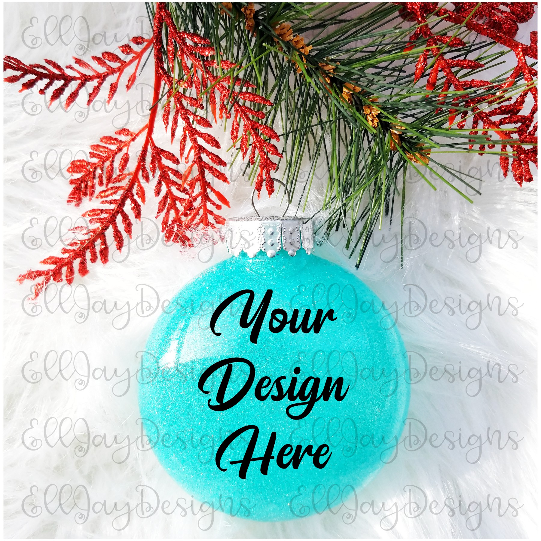 Teal Christmas Glitter Ornament Mock up example image 2