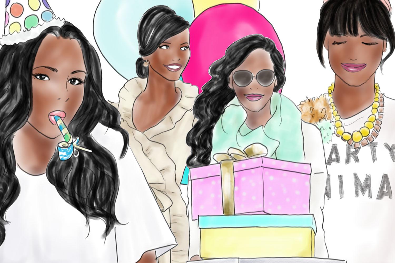 Watercolour fashion illustration clipart - Birthday girls - Dark Skin example image 3