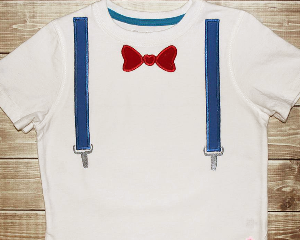 Bow Tie and Suspenders Applique Embroidery Design example image 1