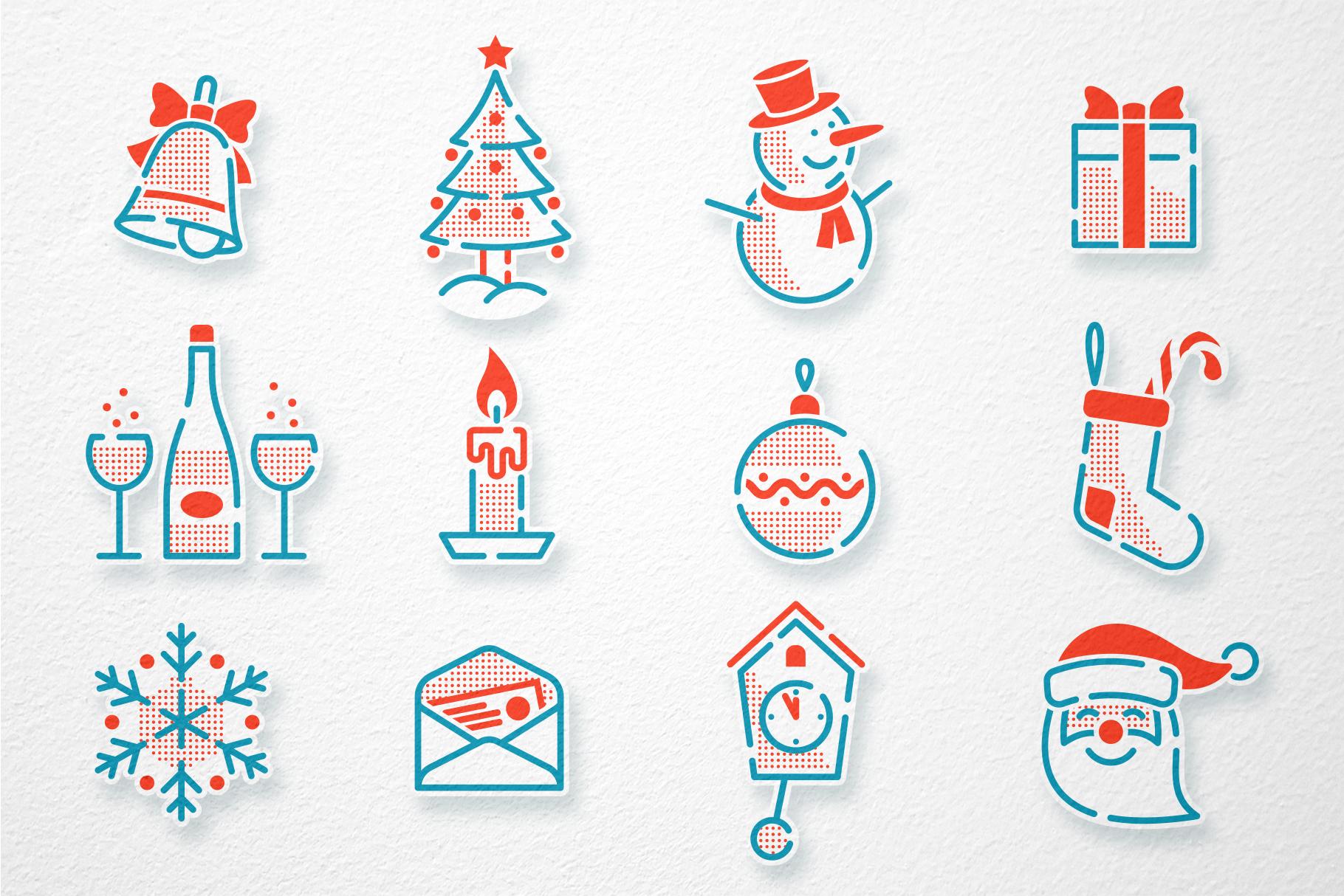 Christmas New Year Icons Set example image 2