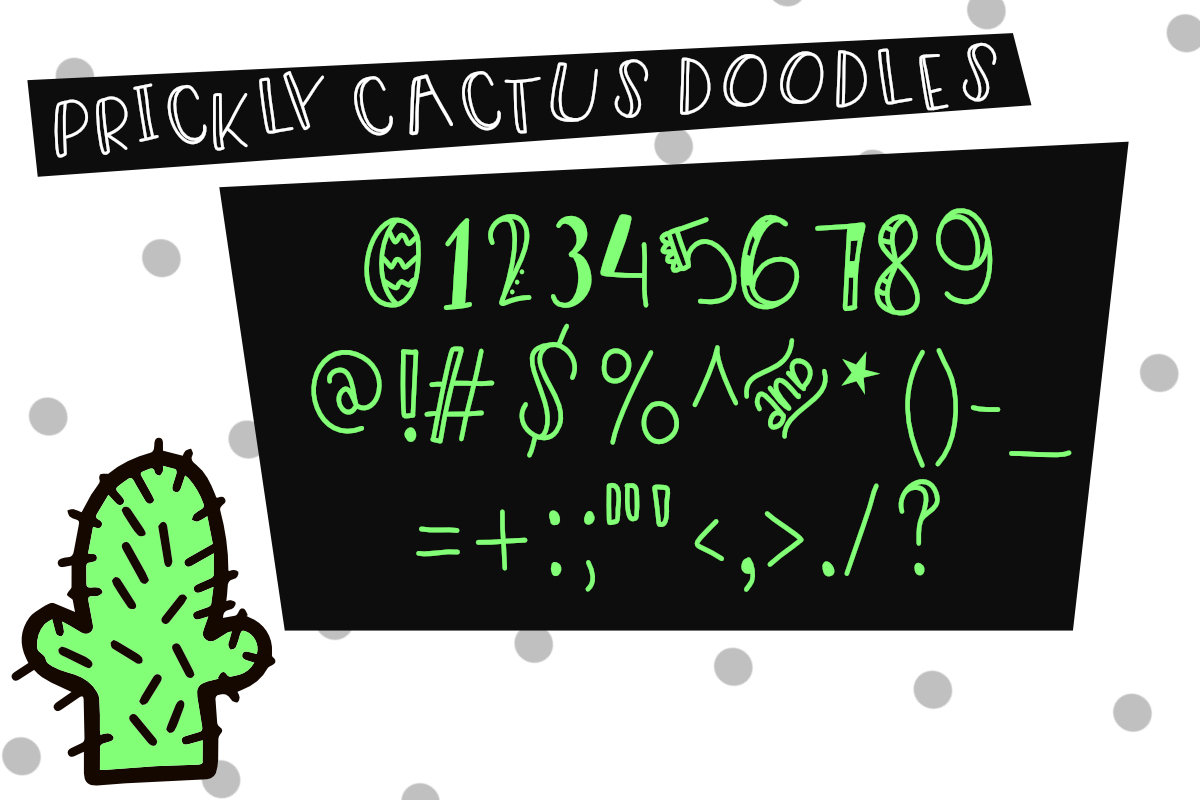 Prickly Cactus Font Duo Free Doodle Pack example image 5