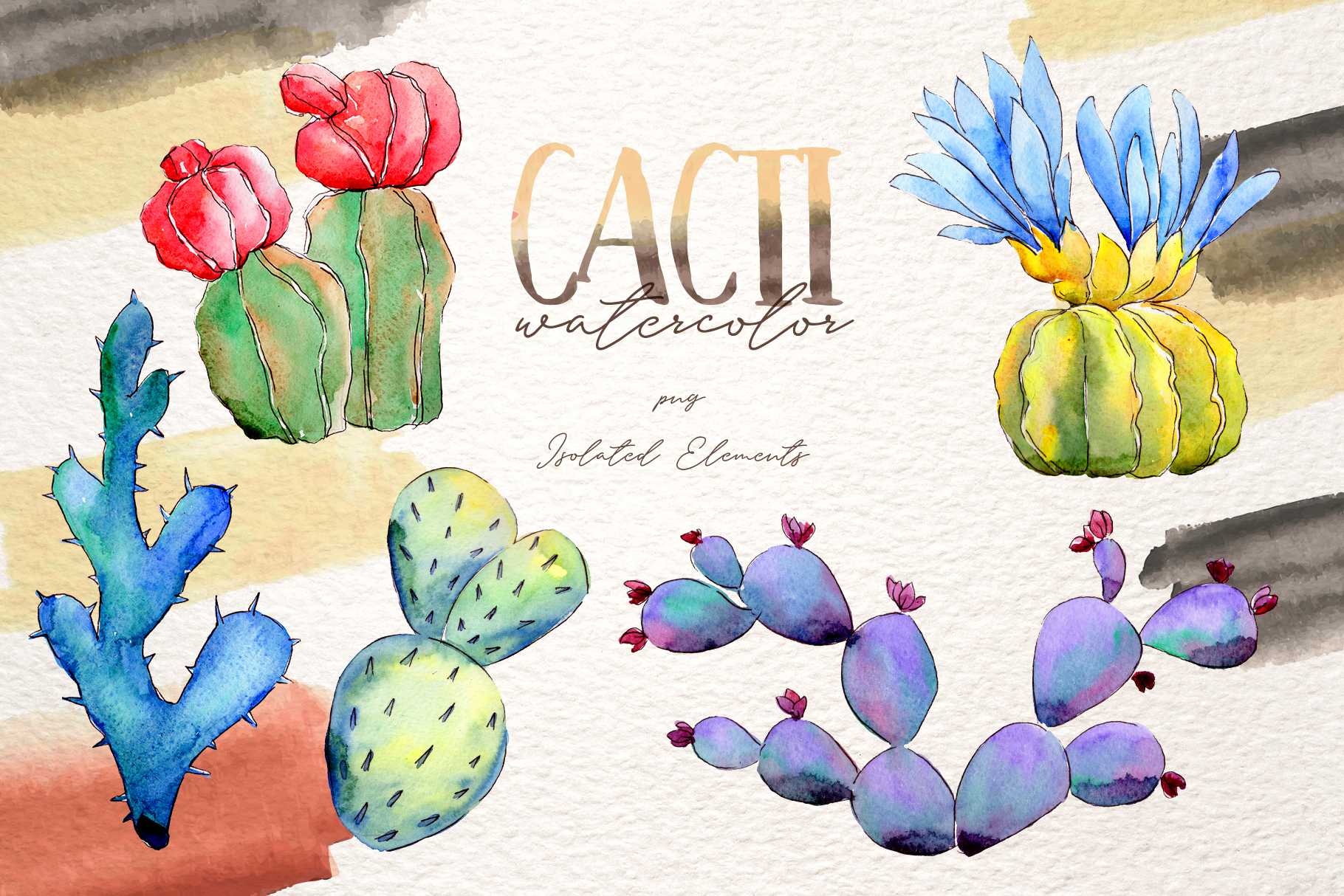 Cool colorful cacti PNG watercolor set example image 2