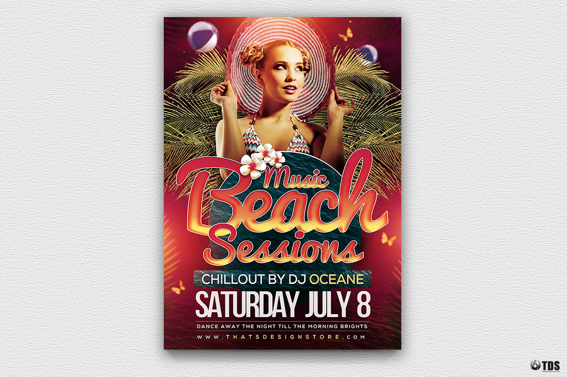 Beach Night Sessions Flyer Template example image 2