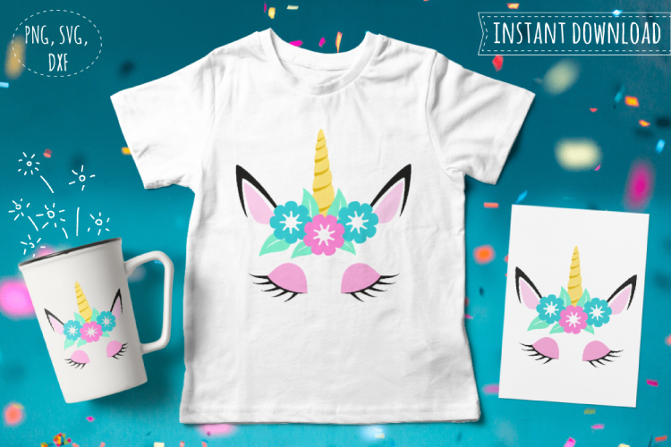 Unicorn head svg. Cute unicorn clipart example image 1