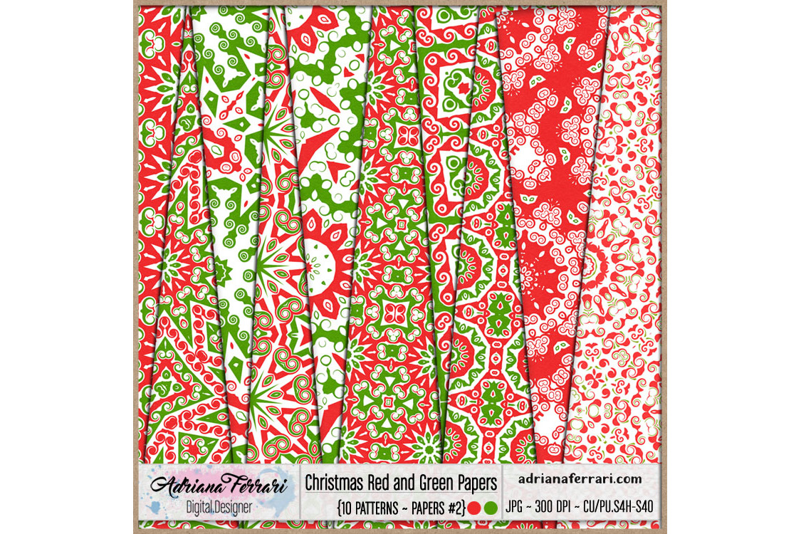 Christmas Red and Green Papers 2 example image 1