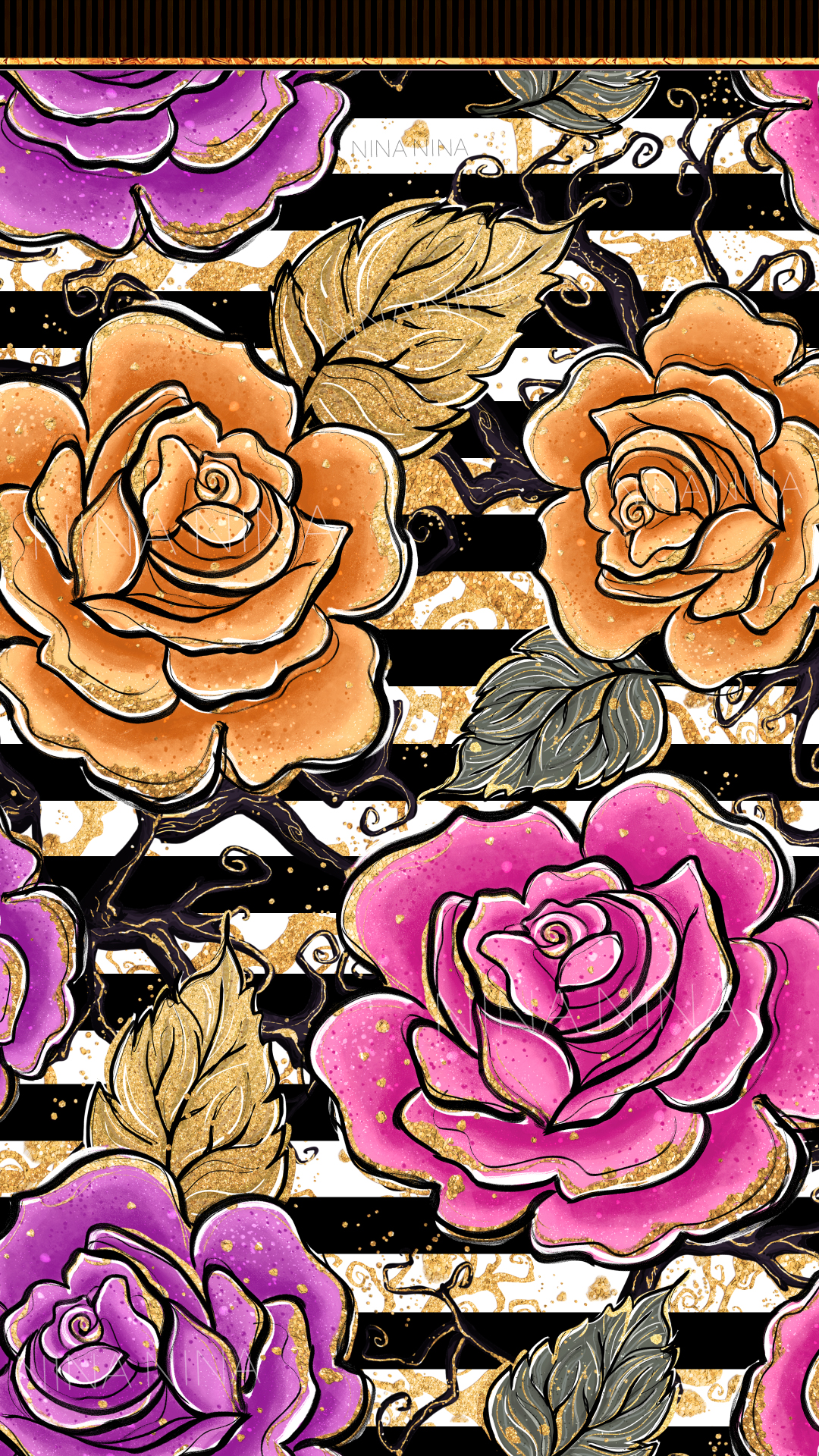 Halloween Flowers Seamless Patterns, Roses Digital Papers example image 10