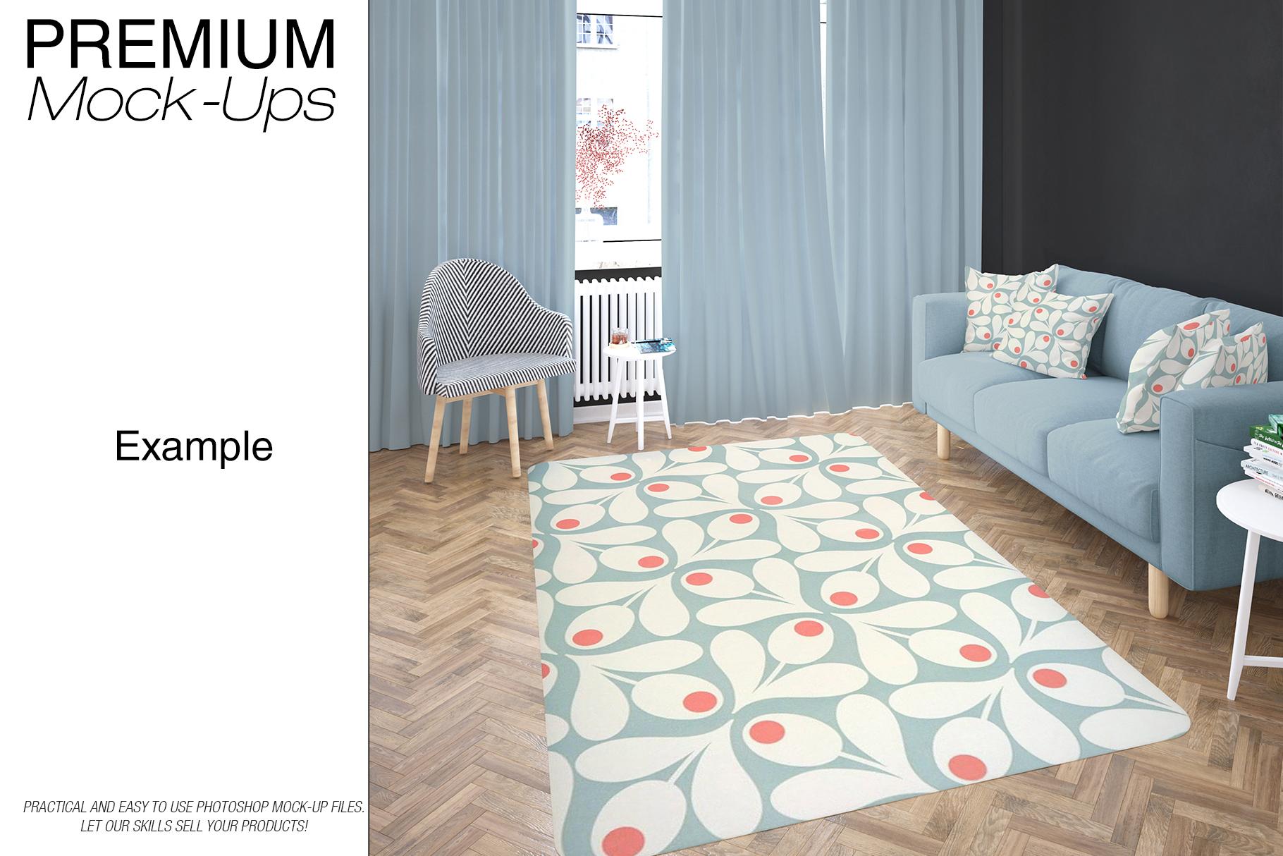 Carpets in Living Room Mockup Set