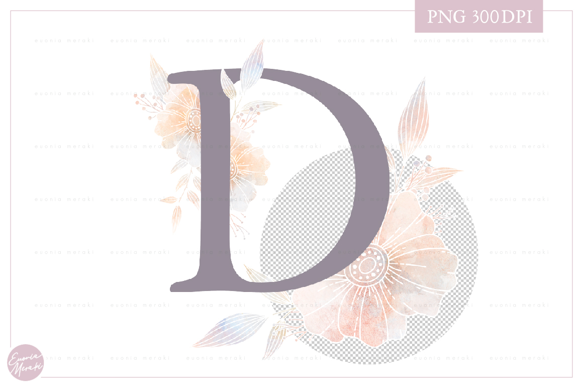 Letter D Floral MONOGRAM - dusty color flower initial example image 2