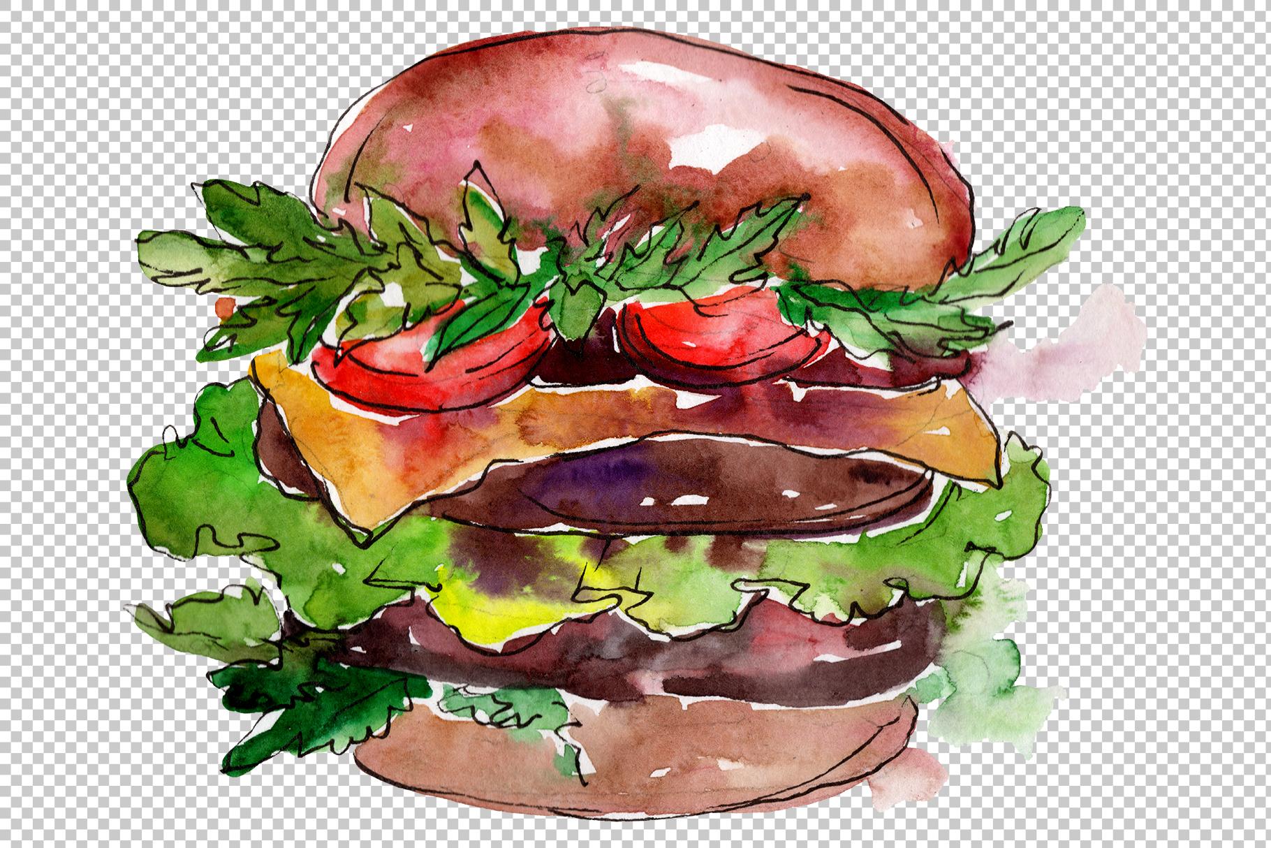 Hamburger Watercolor png example image 4