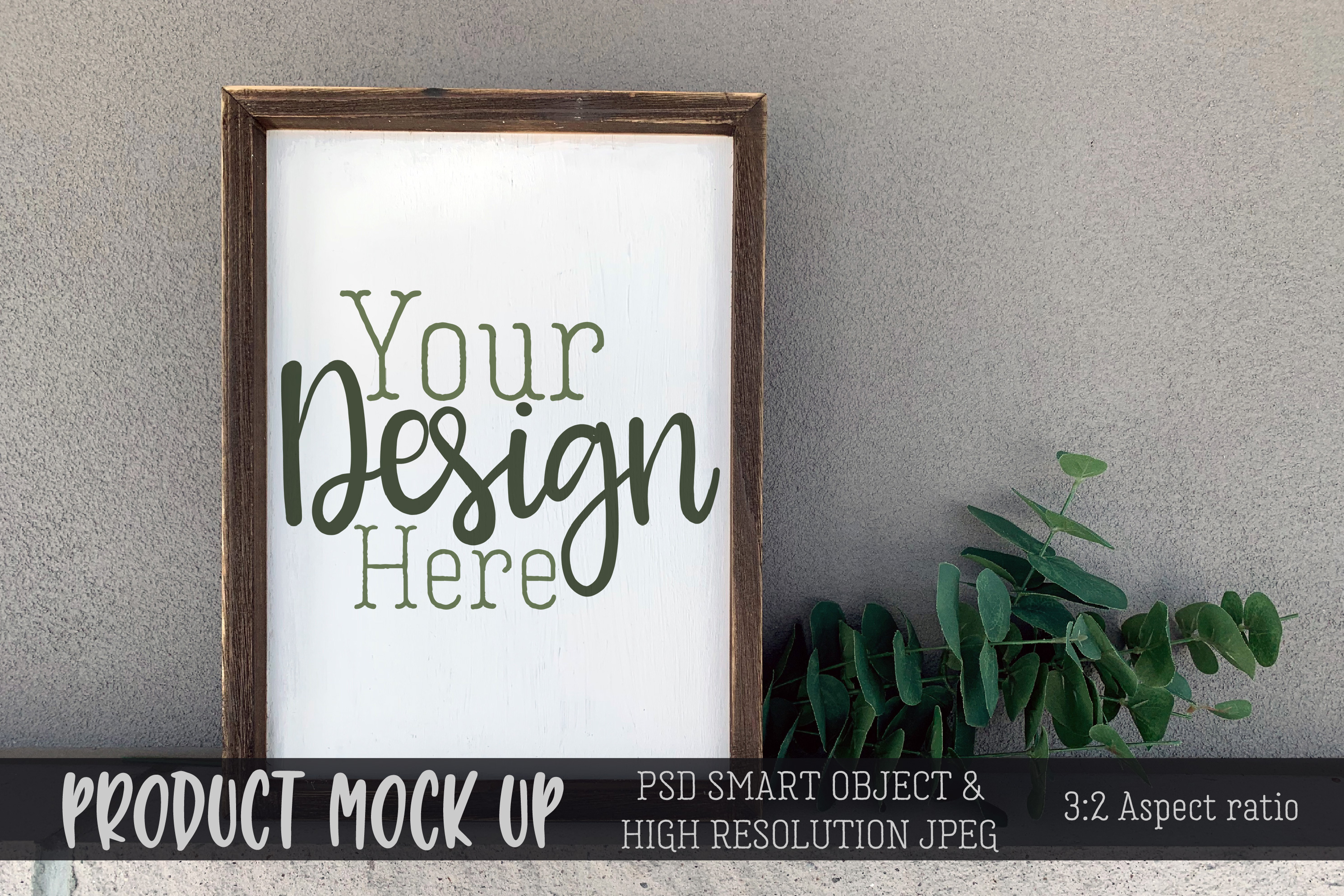 Wood frame sign on concrete Craft mock up | PSD & JPEG example image 1