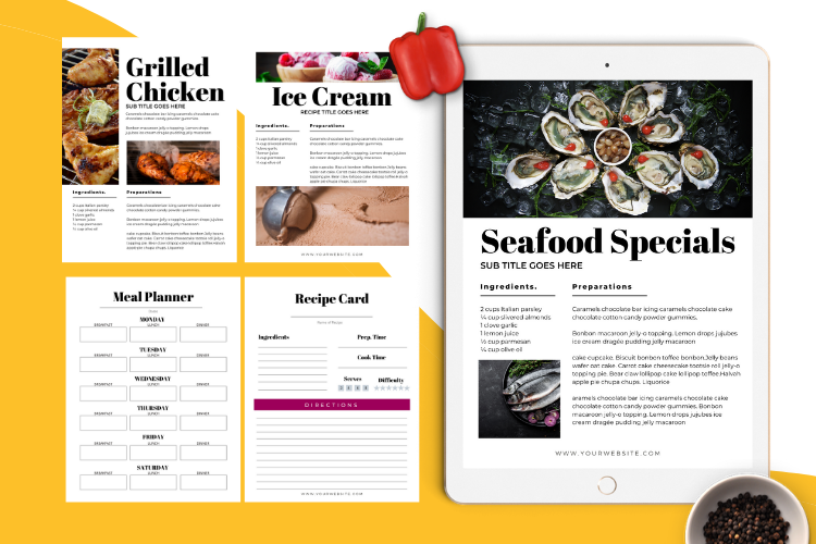 Food Lovers Recipe and Cookbook Canva Template Ebook example image 10