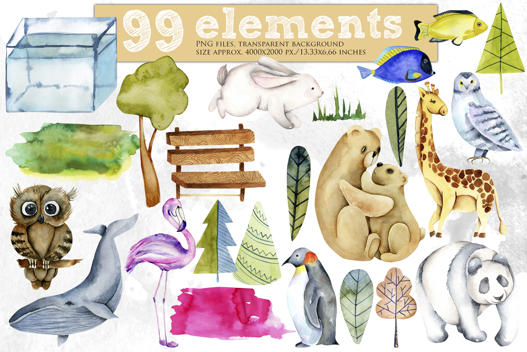 Zoo. Big watercolor collection. example image 4