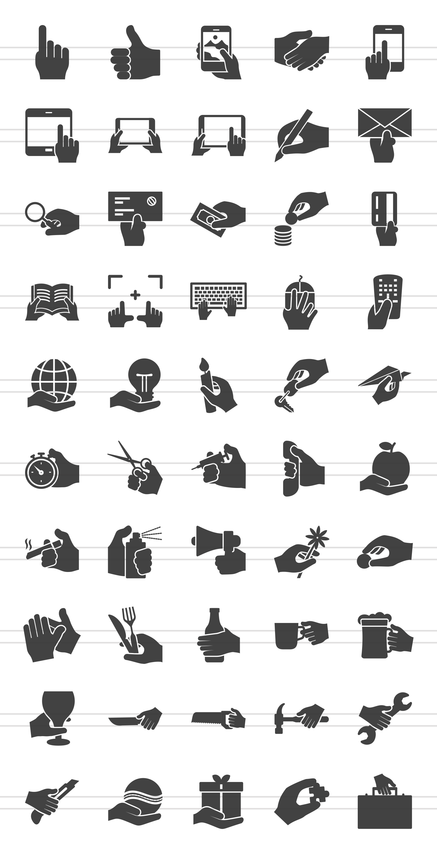 50 Hand Actions Glyph Icons example image 2