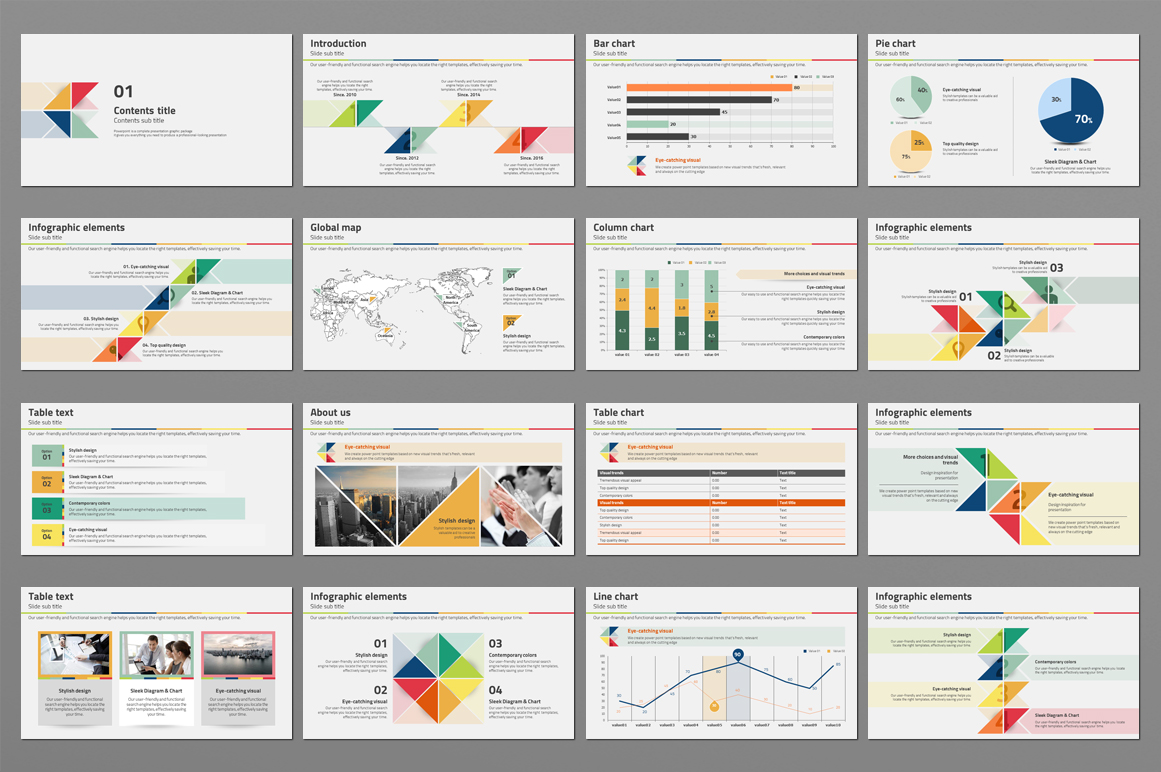 Triangle Pattern PPT Template example image 2
