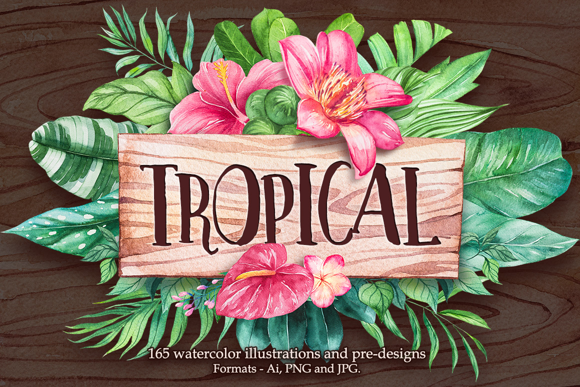 Tropical. Watercolor illustrations. example image 1