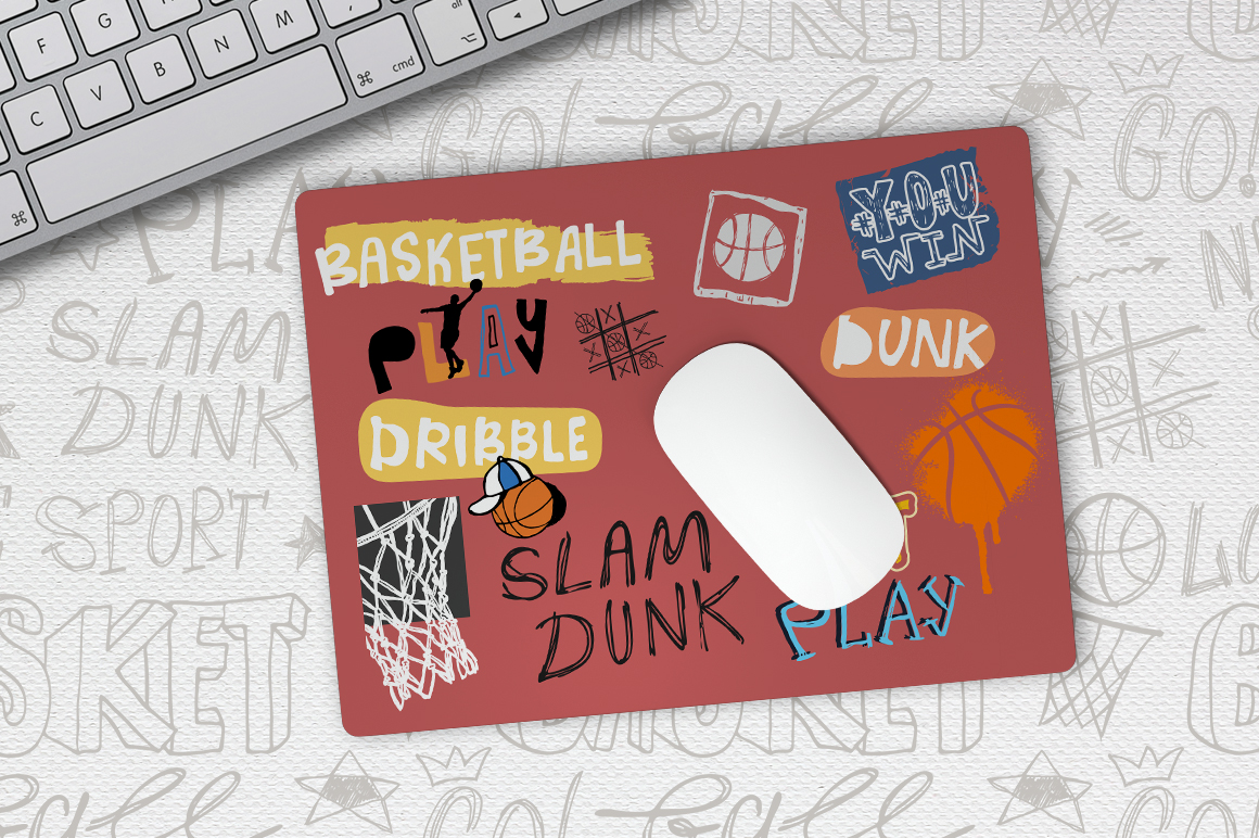 Set Sketch Basketball patterns example image 4